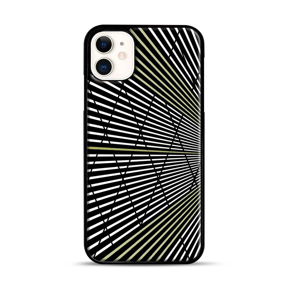Gold and Black Line Pattern iPhone 11 Case.jpg, Black Plastic Case | Webluence.com