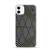 Load image into Gallery viewer, Gold and Black Line Pattern iPhone 11 Case.jpg, White Plastic Case | Webluence.com