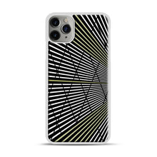 Load image into Gallery viewer, Gold and Black Line Pattern iPhone 11 Pro Max Case.jpg, White Plastic Case | Webluence.com