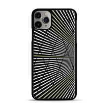 Load image into Gallery viewer, Gold and Black Line Pattern iPhone 11 Pro Max Case.jpg, Black Plastic Case | Webluence.com