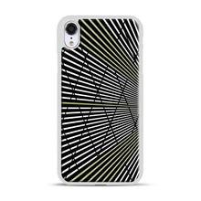 Load image into Gallery viewer, Gold and Black Line Pattern iPhone XR Case, White Plastic Case | Webluence.com