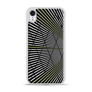 Gold and Black Line Pattern iPhone XR Case, White Plastic Case | Webluence.com