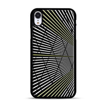 Load image into Gallery viewer, Gold and Black Line Pattern iPhone XR Case, Black Rubber Case | Webluence.com