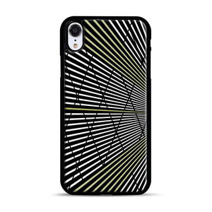 Gold and Black Line Pattern iPhone XR Case, Black Rubber Case | Webluence.com