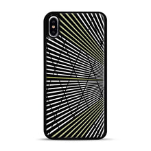 Load image into Gallery viewer, Gold and Black Line Pattern iPhone XS Max Case, Black Plastic Case | Webluence.com
