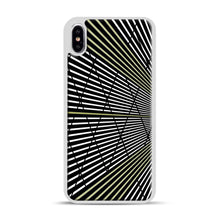 Load image into Gallery viewer, Gold and Black Line Pattern iPhone XS Max Case, White Plastic Case | Webluence.com