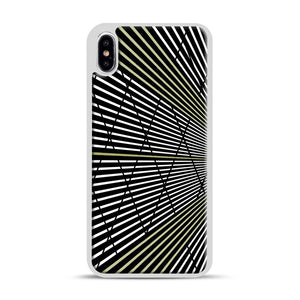Gold and Black Line Pattern iPhone XS Max Case, White Plastic Case | Webluence.com
