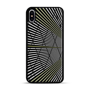 Gold and Black Line Pattern iPhone XS Max Case, Black Rubber Case | Webluence.com