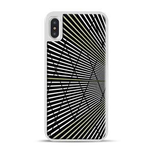 Gold and Black Line Pattern iPhone X/XS Case, White Rubber Case | Webluence.com