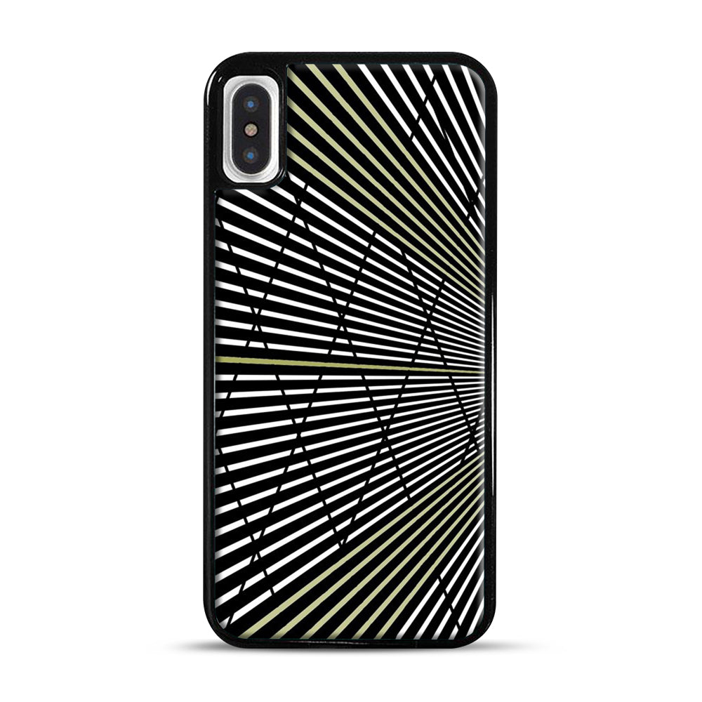 Gold and Black Line Pattern iPhone X/XS Case, Black Plastic Case | Webluence.com