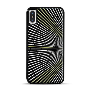 Gold and Black Line Pattern iPhone X/XS Case, Black Rubber Case | Webluence.com