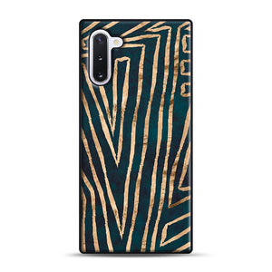 Green & Gold Aztec Lines Samsung Galaxy Note 10 Case, Black Rubber Case | Webluence.com