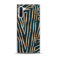 Load image into Gallery viewer, Green & Gold Aztec Lines Samsung Galaxy Note 10 Case, White Plastic Case | Webluence.com
