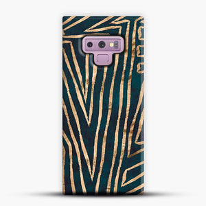Green & Gold Aztec Lines Samsung Galaxy Note 9 Case, Snap Case | Webluence.com
