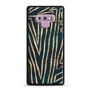 Green & Gold Aztec Lines Samsung Galaxy Note 9 Case, Black Rubber Case | Webluence.com