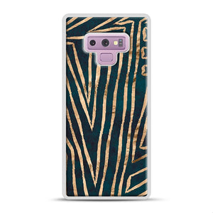 Green & Gold Aztec Lines Samsung Galaxy Note 9 Case, White Rubber Case | Webluence.com