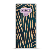 Load image into Gallery viewer, Green & Gold Aztec Lines Samsung Galaxy Note 9 Case, White Plastic Case | Webluence.com