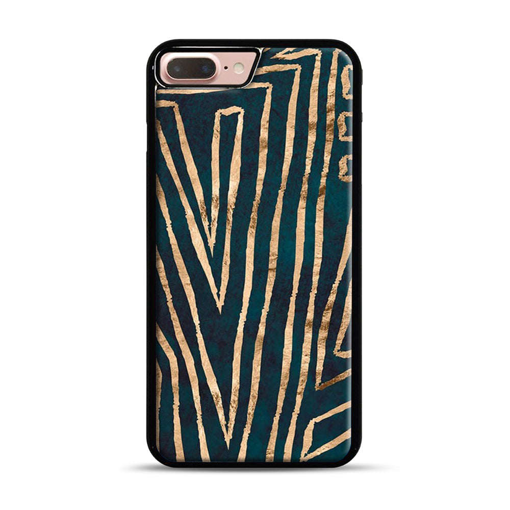 Green & Gold Aztec Lines iPhone 7 Plus/8 Plus Case, Black Plastic Case | Webluence.com