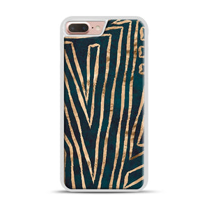 Green & Gold Aztec Lines iPhone 7 Plus/8 Plus Case, White Rubber Case | Webluence.com