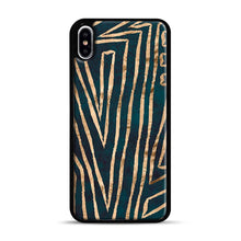Load image into Gallery viewer, Green & Gold Aztec Lines iPhone XS Max Case, Black Plastic Case | Webluence.com