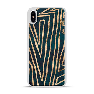 Green & Gold Aztec Lines iPhone XS Max Case, White Rubber Case | Webluence.com