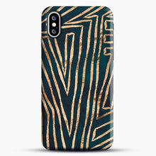 Load image into Gallery viewer, Green & Gold Aztec Lines iPhone XS Max Case, Snap Case | Webluence.com