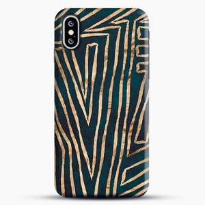 Green & Gold Aztec Lines iPhone XS Max Case, Snap Case | Webluence.com