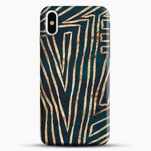 Green & Gold Aztec Lines iPhone X/XS Case, Snap Case | Webluence.com