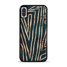 Load image into Gallery viewer, Green & Gold Aztec Lines iPhone X/XS Case, Black Plastic Case | Webluence.com