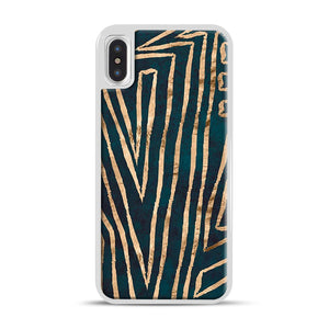 Green & Gold Aztec Lines iPhone X/XS Case, White Rubber Case | Webluence.com