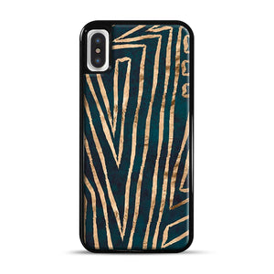 Green & Gold Aztec Lines iPhone X/XS Case, Black Rubber Case | Webluence.com