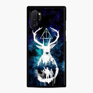 Harry Potter Silhouette Deathly Hallows Samsung Galaxy Note 10 Plus Case, Black Rubber Case