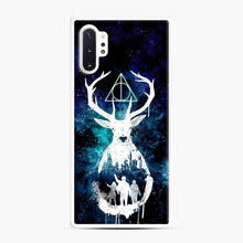 Load image into Gallery viewer, Harry Potter Silhouette Deathly Hallows Samsung Galaxy Note 10 Plus Case, White Rubber Case