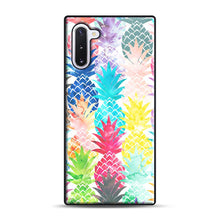 Load image into Gallery viewer, Hawaiian Pineapple Pattern Tropical Watercolor Samsung Galaxy Note 10 Case, Black Rubber Case | Webluence.com