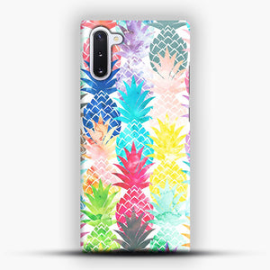 Hawaiian Pineapple Pattern Tropical Watercolor Samsung Galaxy Note 10 Case, Snap Case | Webluence.com