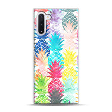 Load image into Gallery viewer, Hawaiian Pineapple Pattern Tropical Watercolor Samsung Galaxy Note 10 Case, White Rubber Case | Webluence.com