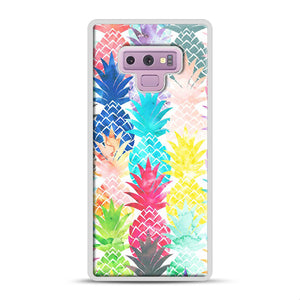 Hawaiian Pineapple Pattern Tropical Watercolor Samsung Galaxy Note 9 Case, White Rubber Case | Webluence.com