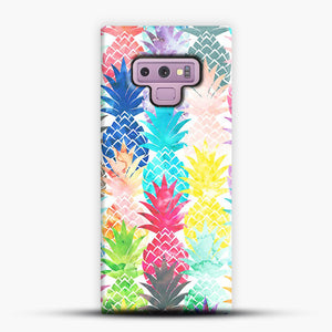 Hawaiian Pineapple Pattern Tropical Watercolor Samsung Galaxy Note 9 Case, Snap Case | Webluence.com