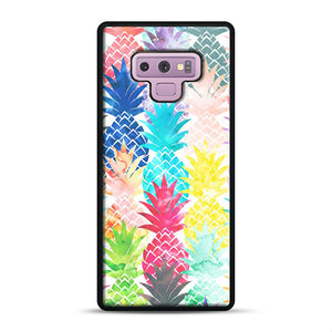 Hawaiian Pineapple Pattern Tropical Watercolor Samsung Galaxy Note 9 Case, Black Rubber Case | Webluence.com