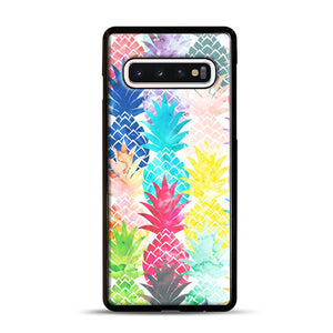 Hawaiian Pineapple Pattern Tropical Watercolor Samsung Galaxy S10 Case, Black Rubber Case | Webluence.com