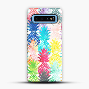 Hawaiian Pineapple Pattern Tropical Watercolor Samsung Galaxy S10 Case, Snap Case | Webluence.com