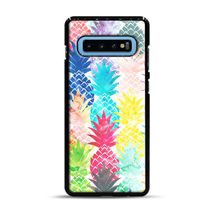Hawaiian Pineapple Pattern Tropical Watercolor Samsung Galaxy S10 Plus Case, Black Rubber Case | Webluence.com
