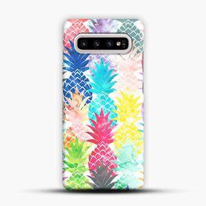 Hawaiian Pineapple Pattern Tropical Watercolor Samsung Galaxy S10 Plus Case, Snap Case | Webluence.com