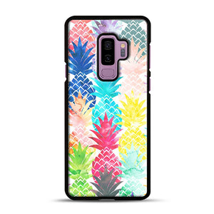 Hawaiian Pineapple Pattern Tropical Watercolor Samsung Galaxy S9 Plus Case, Black Rubber Case | Webluence.com