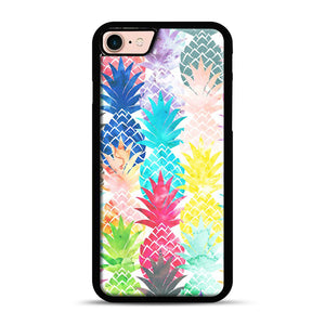 Hawaiian Pineapple Pattern Tropical Watercolor iPhone 7/8 Case.jpg, Black Rubber Case | Webluence.com