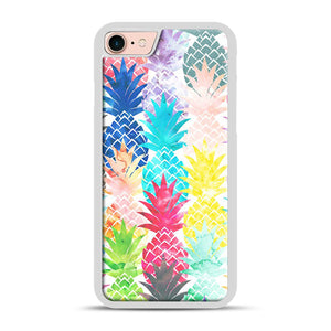 Hawaiian Pineapple Pattern Tropical Watercolor iPhone 7/8 Case.jpg, White Rubber Case | Webluence.com
