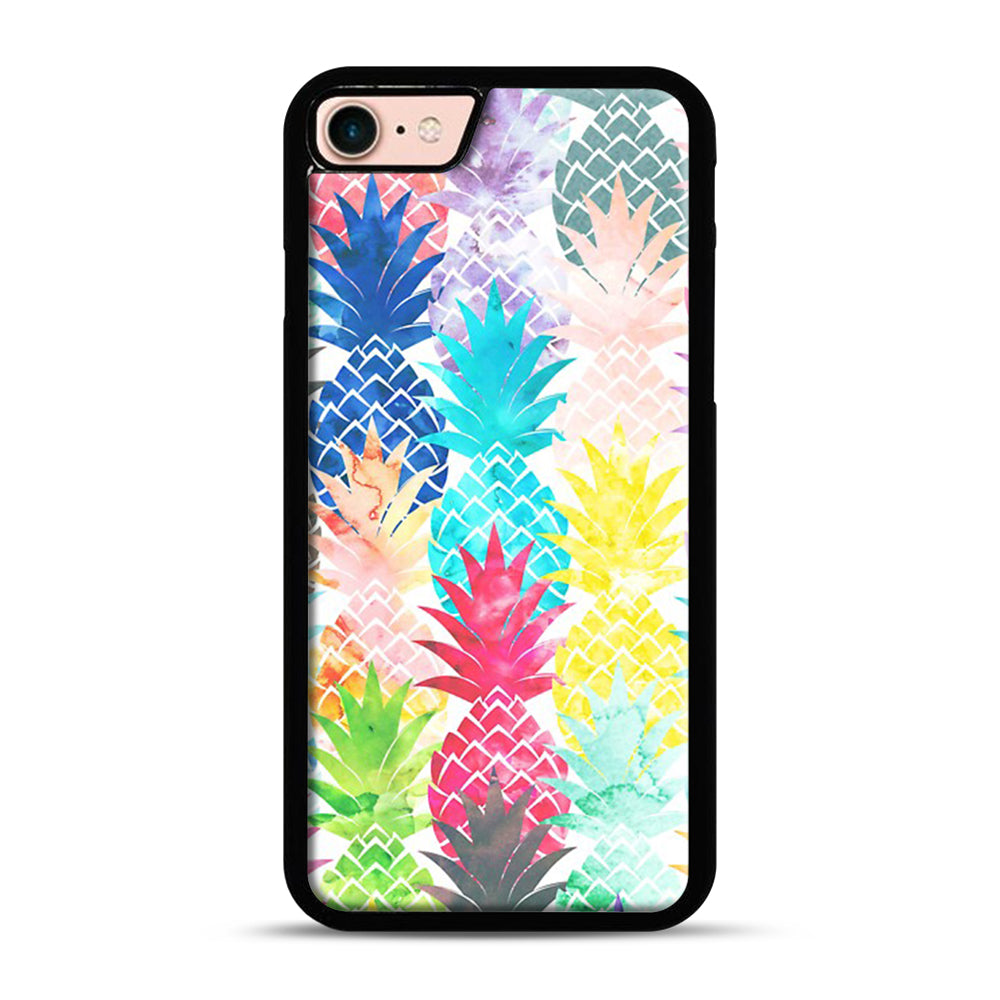 Hawaiian Pineapple Pattern Tropical Watercolor iPhone 7/8 Case.jpg, Black Plastic Case | Webluence.com