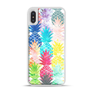 Hawaiian Pineapple Pattern Tropical Watercolor iPhone X/XS Case, White Plastic Case | Webluence.com