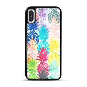 Hawaiian Pineapple Pattern Tropical Watercolor iPhone X/XS Case, Black Rubber Case | Webluence.com