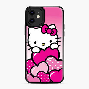 Hello Kitty Cute Falling in Love 2 iPhone 11 Case, Black Plastic Case